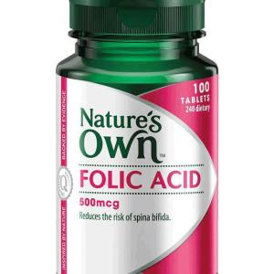 Folic Acid 500mcg 100 Tablets – Natures Own