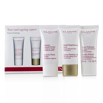 Clarins Extra-Firming 40+ Anti-Ageing Skincare Set:Gentle Refiner 30ml +Extra-Firming Day Cream 30ml+ Beauty Flash Balm 30ml 3pcs Skincare