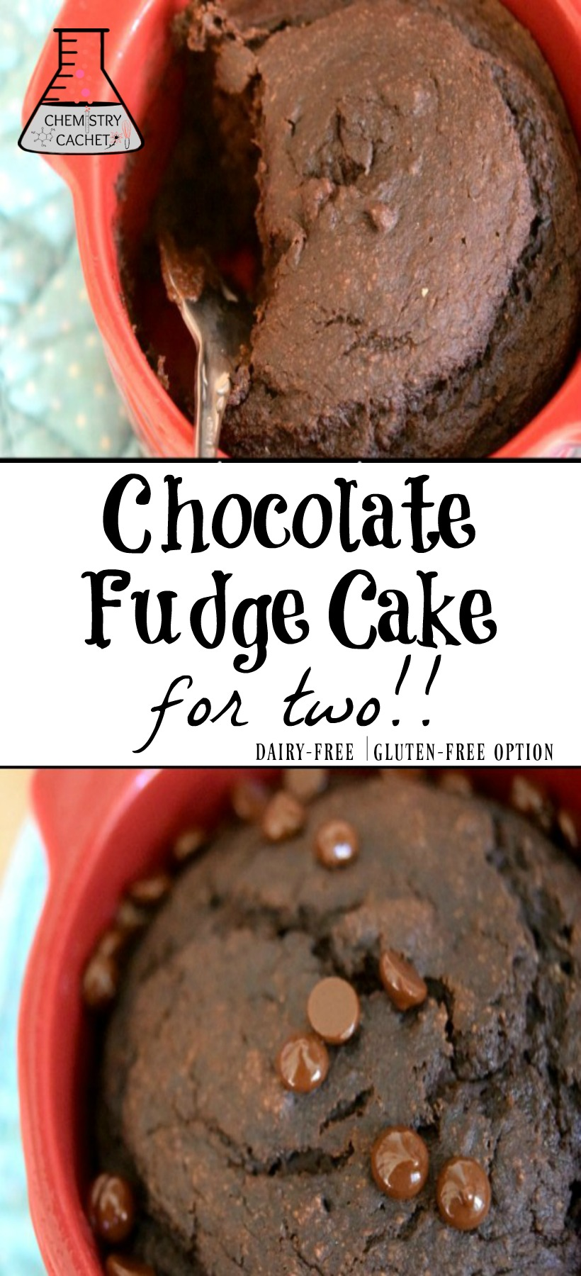 Delicious Easy Healthy Chocolate Fudge Cake for two. Dairy-free fudge cake with gluten-free option! on chemistrycachet.com