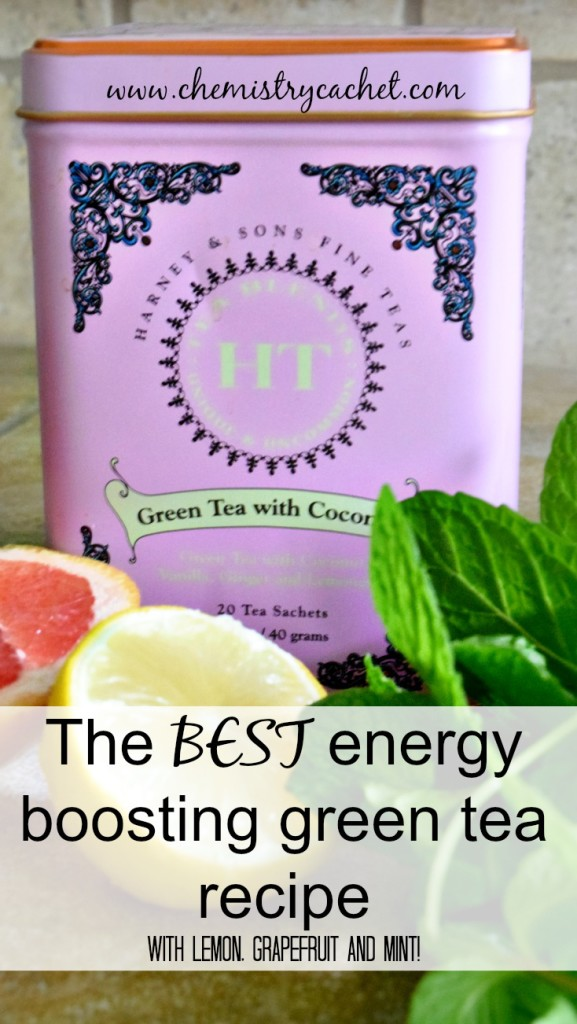 The BEST, easiest energy boosting green tea recipe with amazing flavors of grapefruit, mint and lemon!