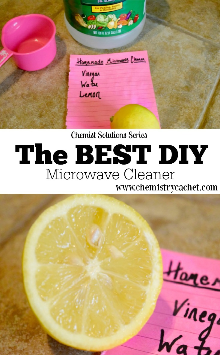The BEST DIY Microwave Cleaner that is chemical-free, incredibly effective & really cheap to make! This is part of the chemist solution series by chemistrycachet.com!