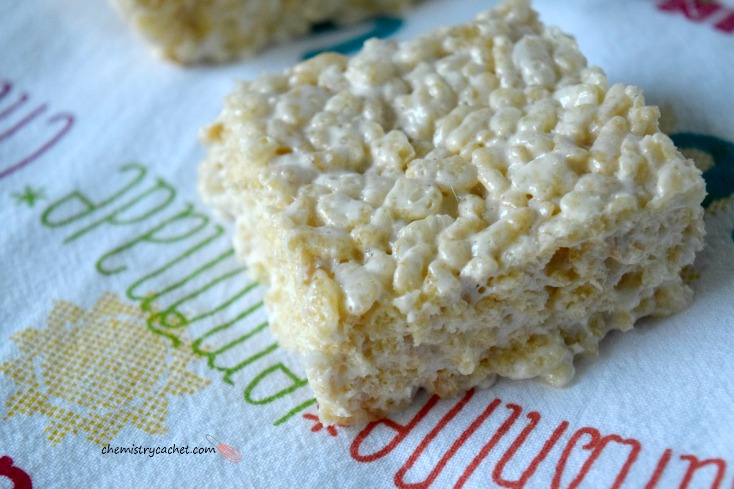 Thick and Chewy Dairy-free Rice Krispie Treats with a fun twist! on chemistrycachet.com