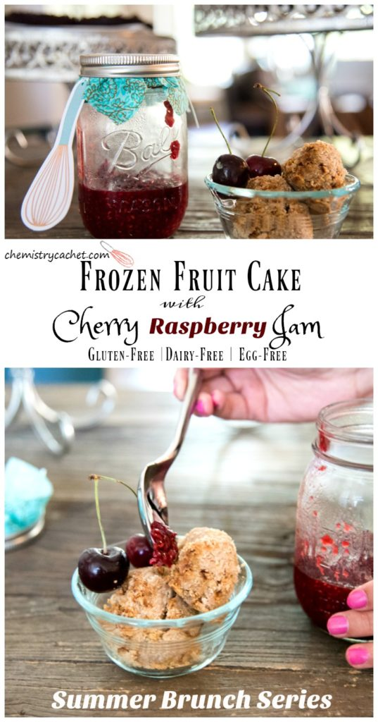 This frozen fruit cake topped with raspberry cherry jam is completely dairy-free, egg-free, AND gluten-free! This is part of a summer brunch series remake on chemistrycachet.com