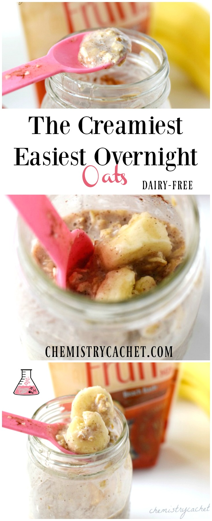 Easy Creamy Overnight Oats Recipe that is dairy-free too! Full of creamy cinnamon and honey flavor, with banana and @enjoylifefoods seed and fruit mix. Details on chemistrycachet.com