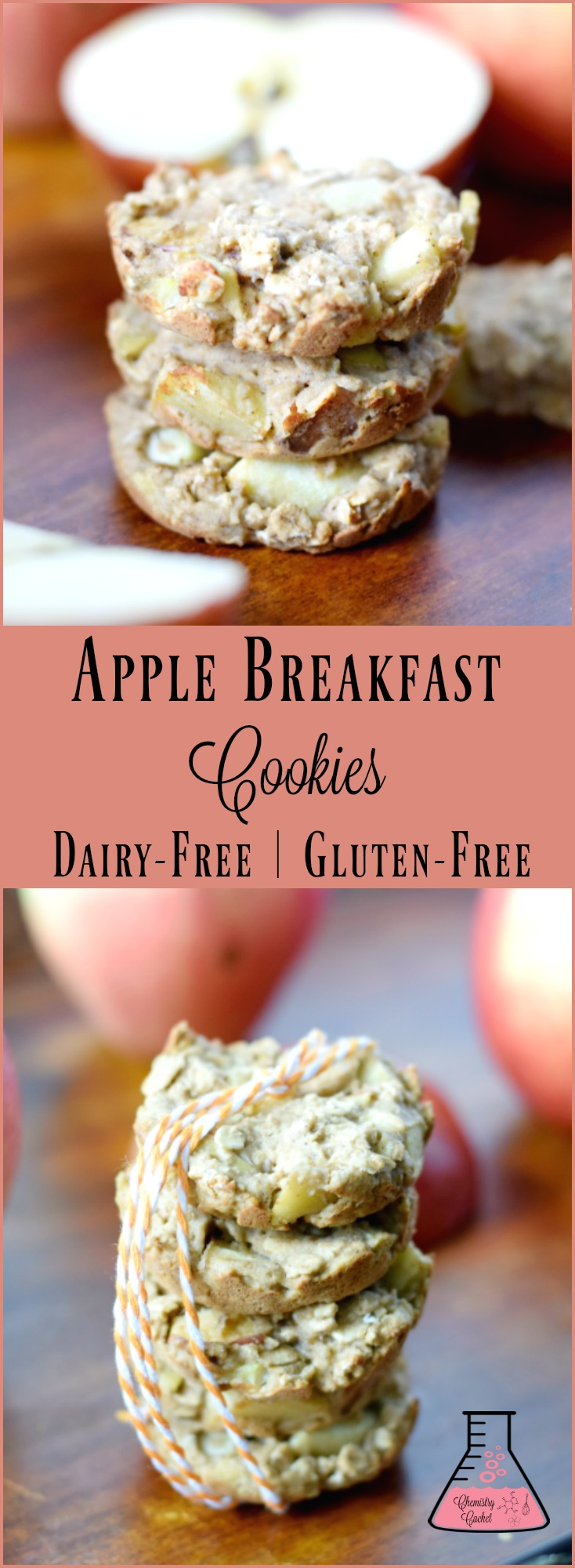 Delicious Apple Breakfast Cookies perfect for on the go! This apple cookie recipe is so easy, and it's dairy-free with gluten-free options on chemistrycachet.com