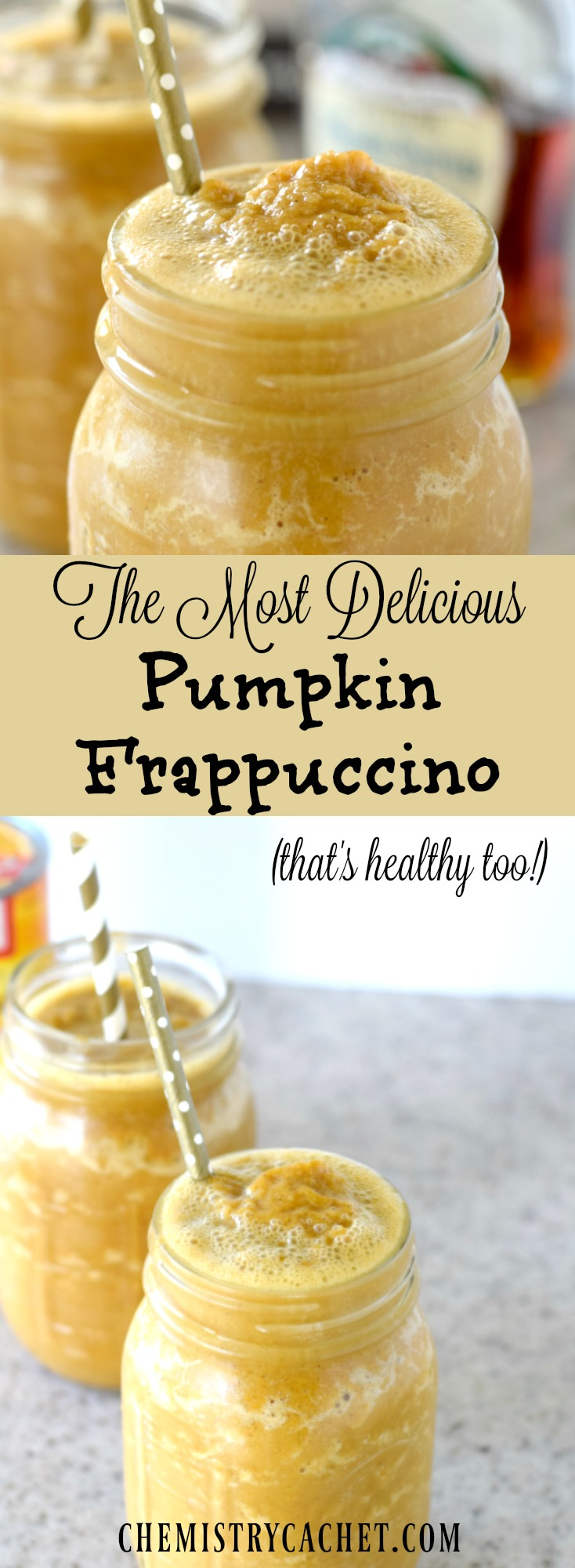 The MOST delicious pumpkin frappuccino that's healthy too! This pumpkin frappuccino recipe is the perfect at home treat this fall! Pumpkin frappuccino recipe on chemistrycachet.com