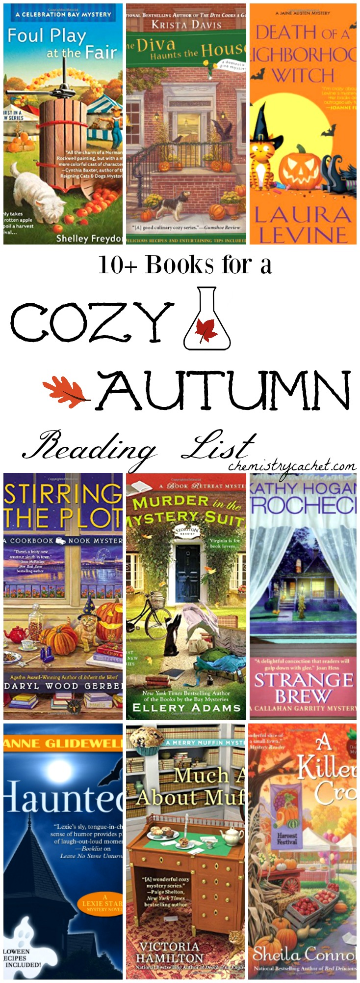 10+ books for a cozy autumn reading list. Perfect autumn reading list for mystery lovers! on chemistrycachet.com