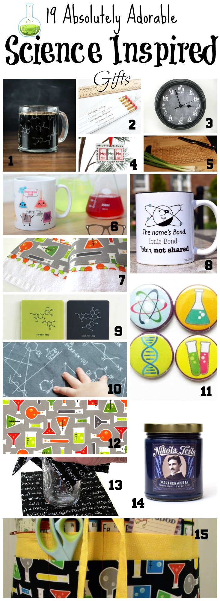 19 Absolutely adorable science inspired gifts for the scientist or science lover! Science gifts, science gift ideas, and more on chemistrycachet.com