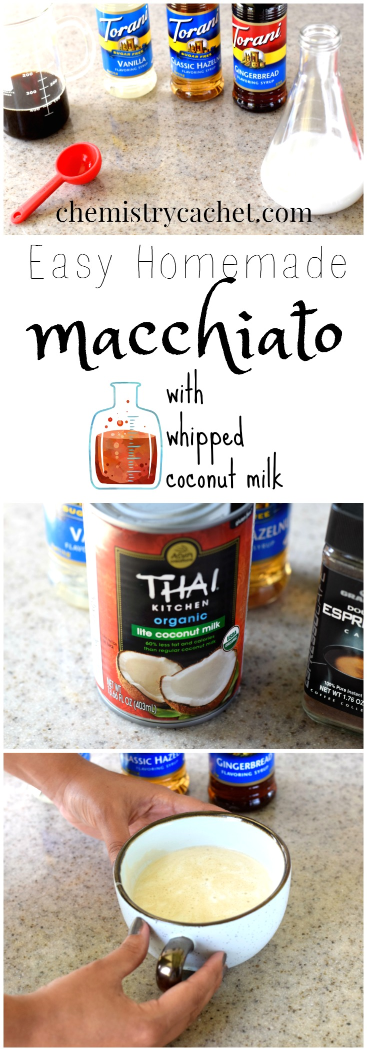 Easy Homemade Macchiato with delicious, easy whipped coconut milk. Different flavor options too! This dairy-free macchiato is just like at the coffee shop. See video and recipe on chemistrycachet.com