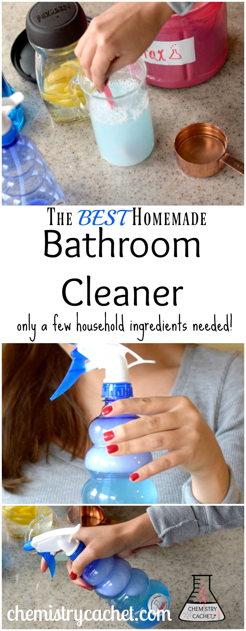 pin the tutorial for the best homemade bathroom cleaner - Homemade Bathroom Cleaner