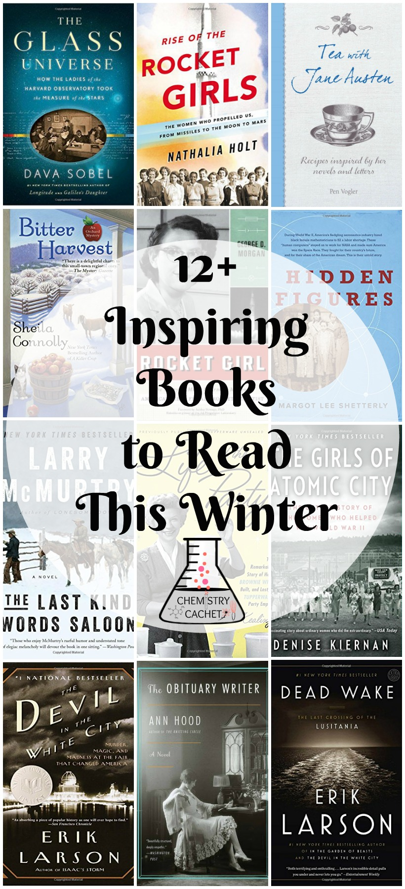 12+ Inspiring Books to Read this Winter. A mix of mystery, non-fiction, historical fiction, and even some recipes on chemistrycachet.com