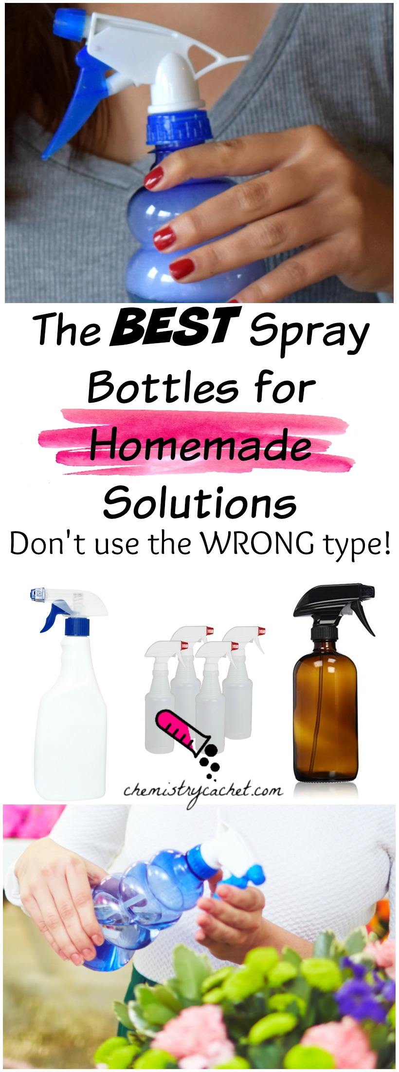 The BEST Spray Bottles for Homemade Solutions...you could be using the wrong type! best spray bottles on chemistrycachet.com