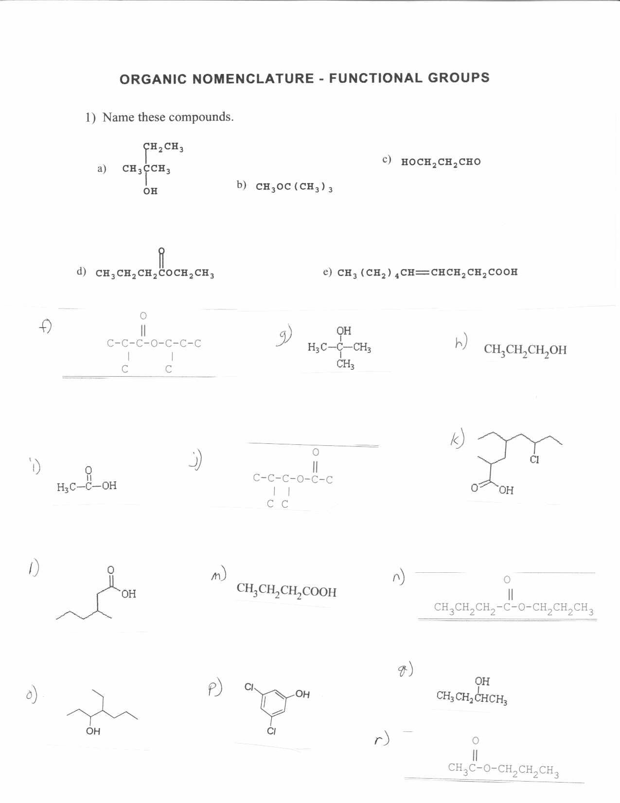 Nomenclature Practice Worksheet Answers