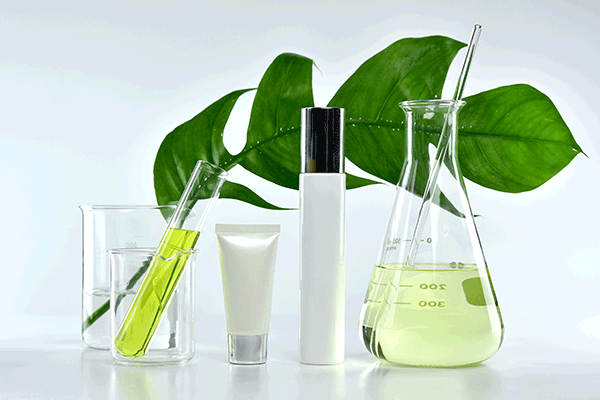 personal care active ingredients in lab beakers