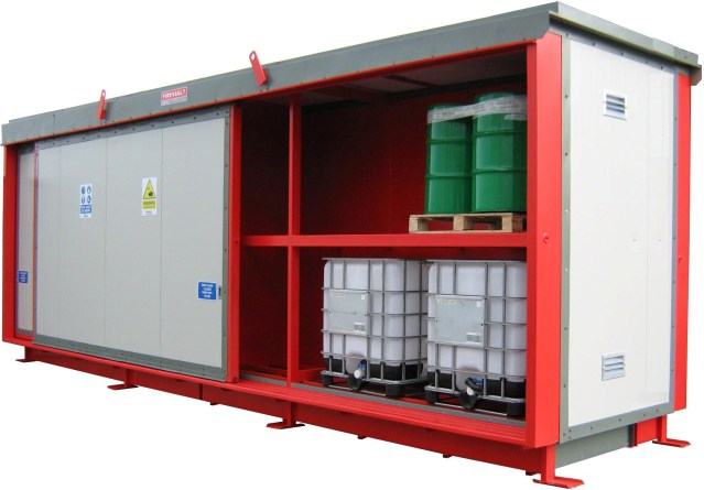 Firevault for the storage of 48 industry standard drums.