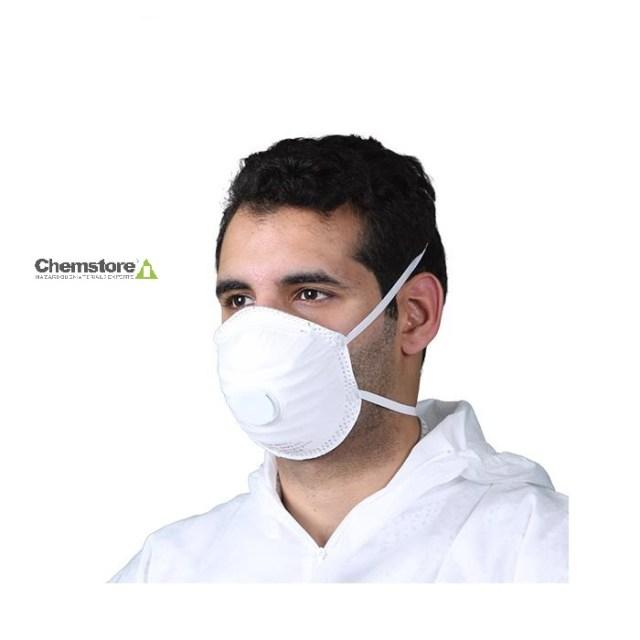 man wearing FFP2 valved disposable respirator