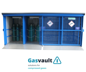 An illustration of the design features incorporated into the Gasvault range of gas cylinder store