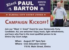 Image of Paul Barton for Elmira City Court Judge campaign mailer postcard