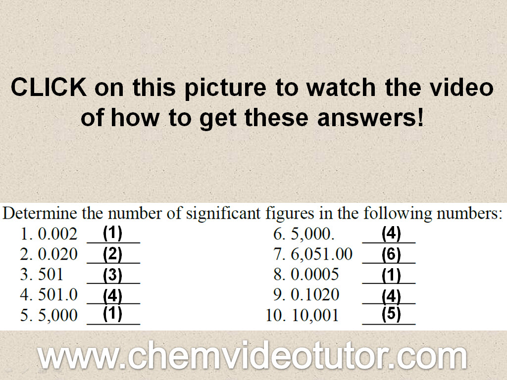 Answers To Significant Figures Problems