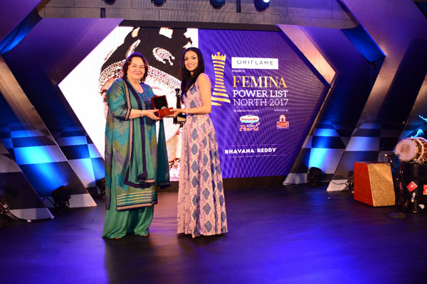 Additional solicitor general of India Pinky Anand presenting the award to Kutchipudi dancer Bhavana Reddy at Femina Power List Award North 2017