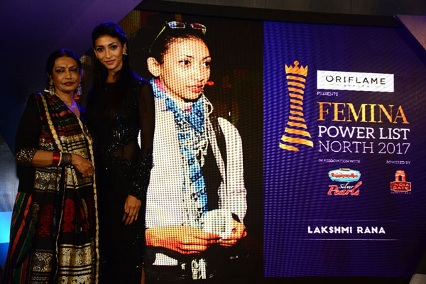 (From left) Reputed artist Anjana Kuthiala with Lakshmi Rana at Femina Power List North 2017