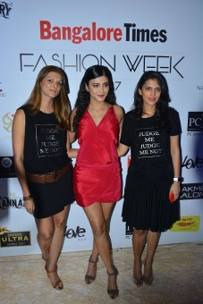 Nandita Mahtani,Actress Shruti Haasan & Dolly Sidhwani walking the Ramp for Love Generation at Bangalore Times Fashion week in Bengaluru on 7th October 2017 at JW Marriott