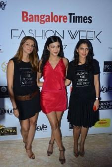 Nandita Mahtani,Actress Shruti Haasan & Dolly Sidhwani walking the Ramp for Love Generation at Bangalore Times Fashion week in Bengaluru on 7th October 2017 at JW Marriott