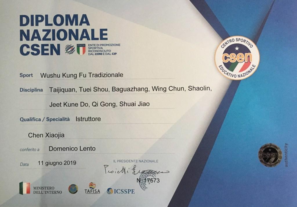 taichi palermo diploma istruttore CSEN Domenico Lento taijiquan