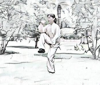 La maestra Chen Peiju esegue la posizione Dulibu