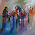 Watering Hole Abstract Colorful Horse Painting By Artist Cher Devereaux Acrylic On Canvas In Sold