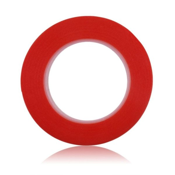 RED Strong Acrylic Transparent Adhesive - Double Sided Heat Resistant - (Polyester Tape) - 45 Meters in Length - 24mm Width