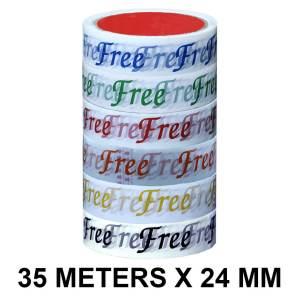 Free Printed Tape - 24mm / 01″ Width – 35 Meters Length