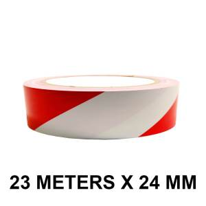 """Red And White Floor Marking Tape - 24mm / 01"""" Width"""