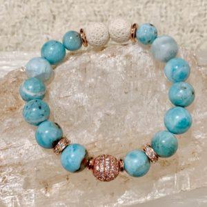 Larimar, Rose Gold, Rhinestone Bracelet