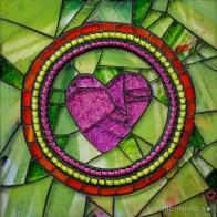 "HEARTS date:2016 artist: Cherie bosela size: 5x6"" Meidum: mosaic"