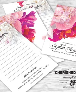 Beautiful Soft Peonies Memorial Funeral Memory Notecards