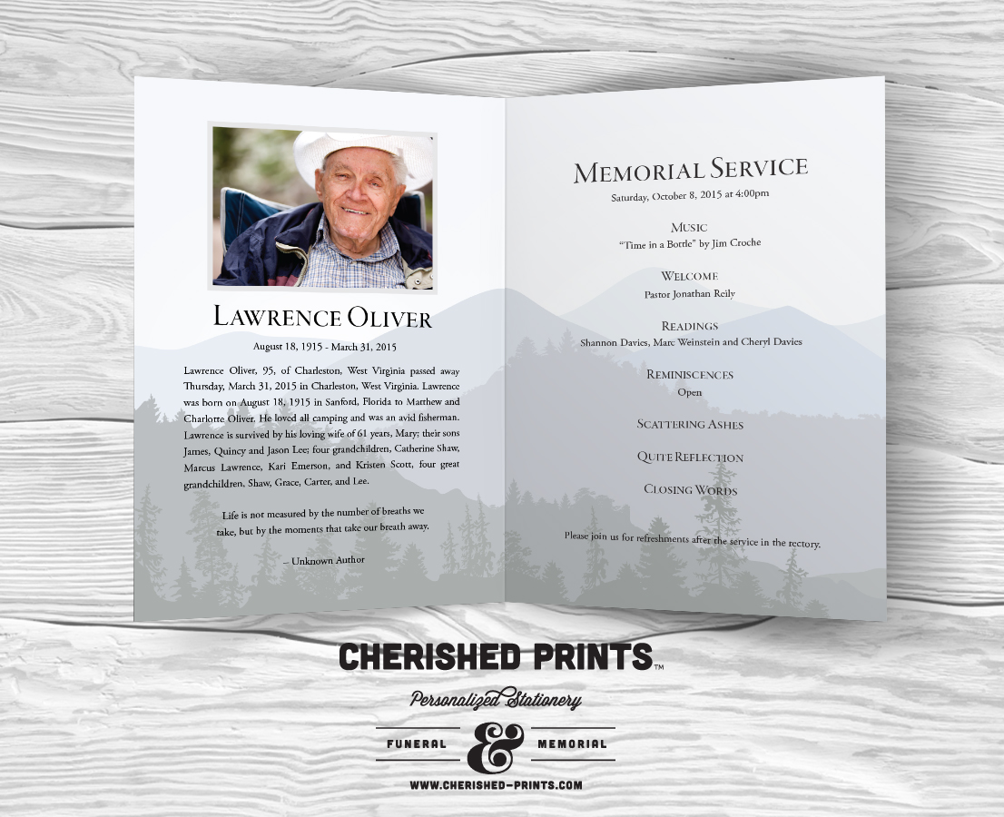 Purple Mountains Majesty Celebration of Life Program for Funerals ...
