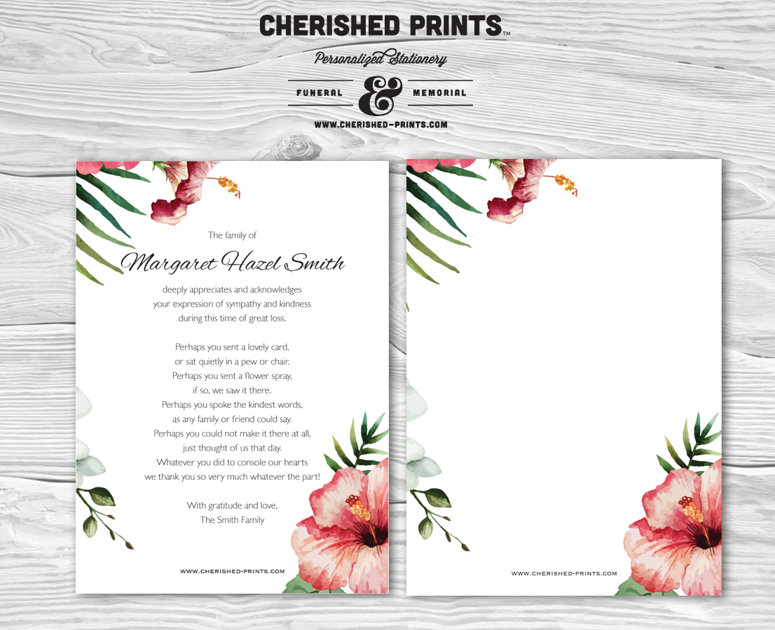 Tropical flowers thank you cards sympathy hawaiian cherished prints home sympathy thank you izmirmasajfo Choice Image