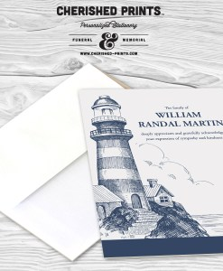Lighthouse thank you card