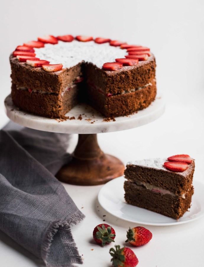 Dairy-Free Strawberry Chocolate Chiffon Cake