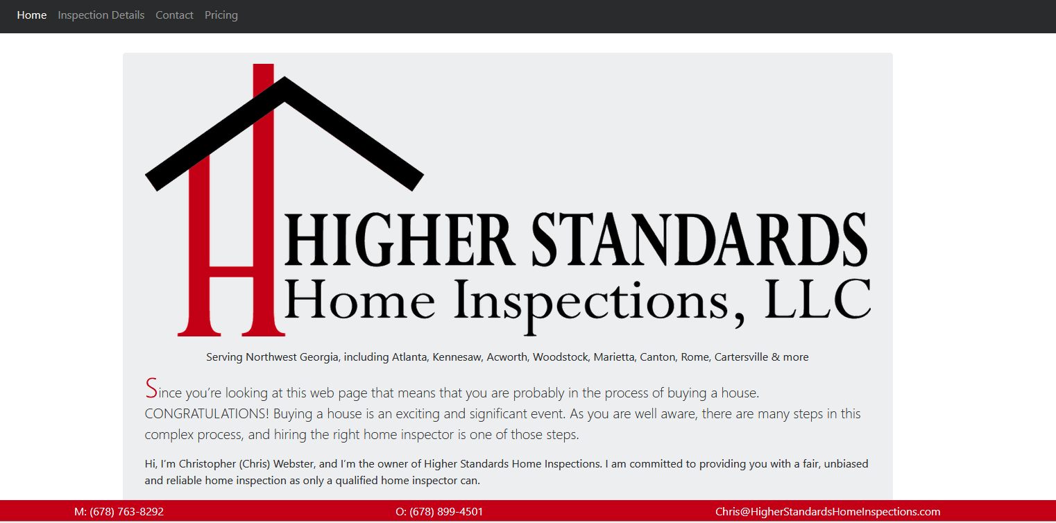 Higher Standards Home Inspection, Chris Webster