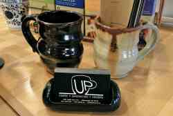 Up Cafe, 2 Mugs and Menus, Photo by Michael Applen
