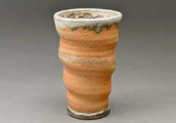Stoneware Cup, Shino Glaze, Orange with Woodfired Natural Ash Glaze