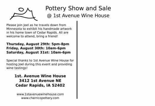 Back, Postcard for Iowa Wine House Show and Sale, 2013