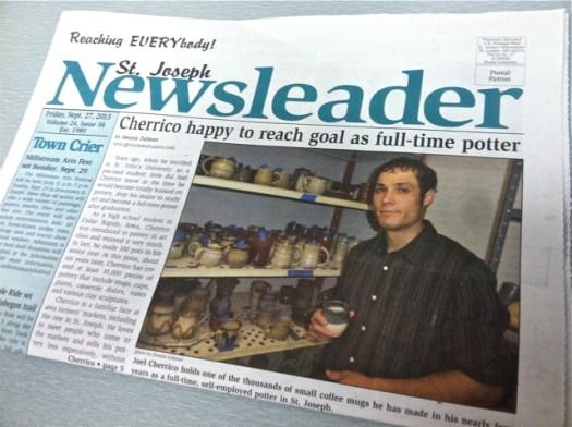 Joel Cherrico Pottery News, Publications, St Joseph Newsleader, Handmade Ceramic Pottery, 2013