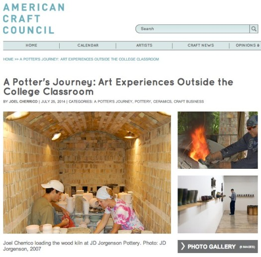 A Potter's Journey, Art Experiences Outside the College Classroom, Handmade Ceramic Pottery, 2014