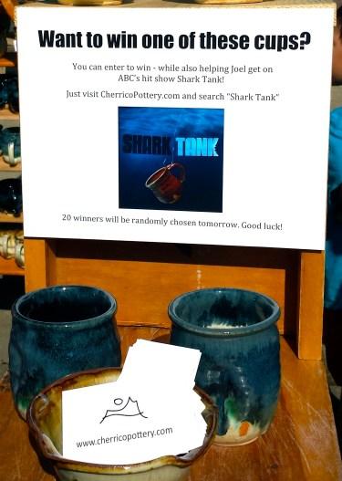 Shark Tank Joel Cherrico Pottery St Joseph Minnesota Millstream Arts Blue Nuka Glaze Pots Cups