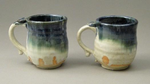 Handmade Blue and Green Stoneware Mug Pair, SKU #670, Image 1