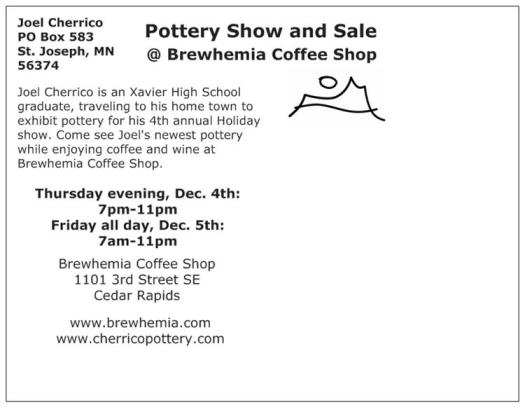 Postcard Back for Iowa Holiday Show, Brewhemia, 2014
