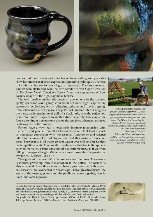 Uniting Potters and the Public through the Cosmos, Cherrico Pottery, Marissa Deml, Cosmic Mugs, Page 4